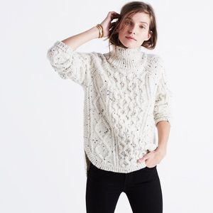 Madewell Cableknit Shirttail Turtleneck Sweater